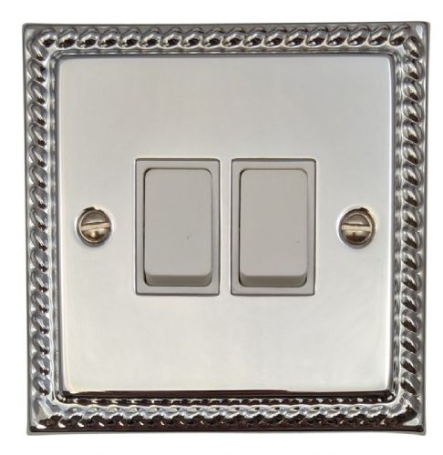 G&H MC2W Monarch Roped Polished Chrome 2 Gang 1 or 2 Way Rocker Light Switch